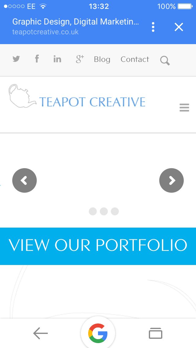 Example of Teapot website - mobile