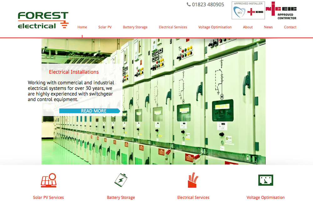 Forest Electrical - homepage - screenshot