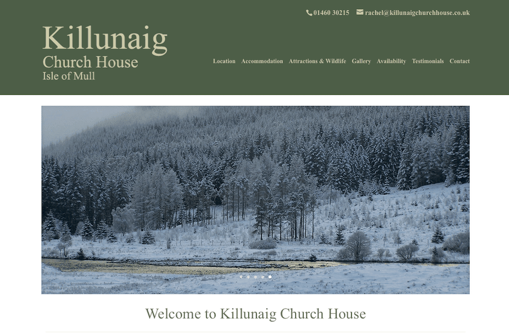 Killunaig Church House - homepage - screenshot