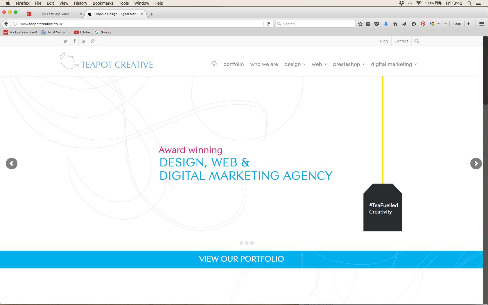 Example of Teapot website - desktop