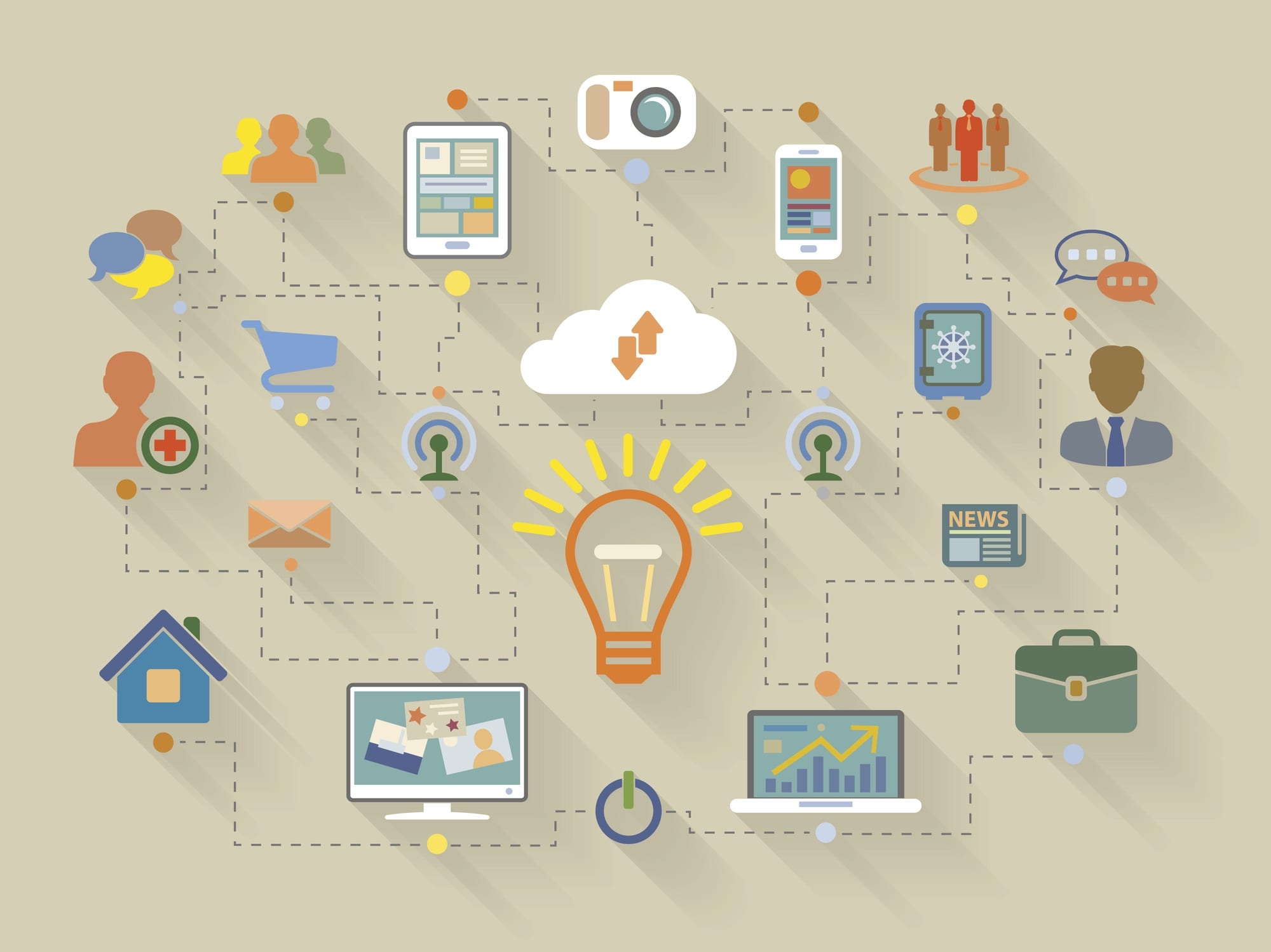 Flat style illustration of website analytics search information concept