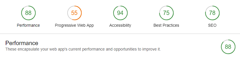 Lighthouse Performance Score